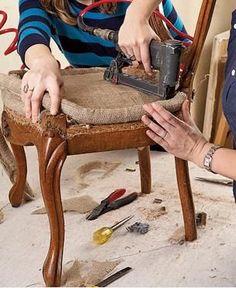 Antique chair reupholster DIY tutorial