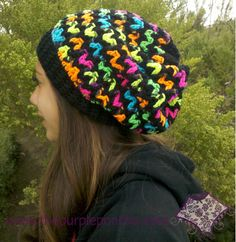 368b7828222 Blacklight yarn slouchy beanie Crochet Kids Hats