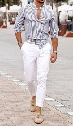 Men& watches - jewelry & gifts Mens Watches – Jewelry & Gifts 10 Best Casual Shirts For Men That Look Great! 10 Best Casual Shirts For Men That Look Great! Formal Men Outfit, Casual Wear For Men, Stylish Mens Outfits, All White Mens Outfit, Casual Ootd, Casual Outfits, Best Casual Shirts, Blue And White Striped Shirt, Blue Striped Shirt Outfit