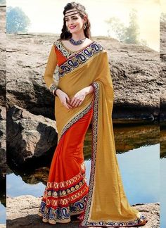 Red With Brown Ethnic Butta Work Indian Wedding Sarees ,Indian Dresses