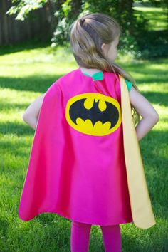 BATGIRL SUPER HERO Cape with sparkle black bat design - Doublesided Hero Cape - Girl Super Hero Party Cape - Girl Halloween Costume