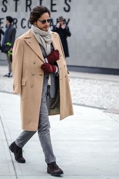 Perfect winter look in Grey Wool Suit, Camel Overcoat, Grey Scarf, Burgundy Gloves and a apir of Black Suede Desert Boots