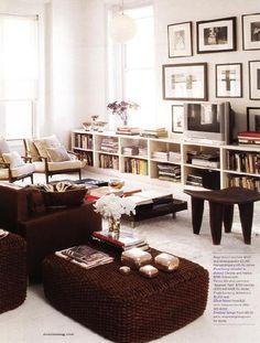 Domino Magazine. Derek & Michelle Sanders; Domino, September 2006. Love the low bookshelves. Living room?