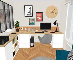 Home Office Design, Interior Design Living Room, House Design, Ikea Malm Desk, Alcove Ideas Living Room, Spare Room Office, Art Studio At Home, My House Plans, Home Decor Inspiration