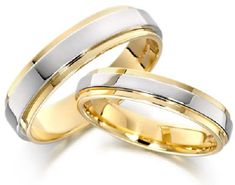 White and Yellow Gold Wedding Rings For Men in 18ct
