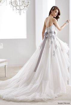 nicole jolies 2016 wedding dresses strapless sweetheart neckline purple accent embroidery high low mullet wedding dress joab16406 back view