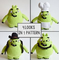 Crochet PATTERN Angry Birds PIG 4 looks in one von Krawka auf Etsy