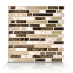 Shop Smart Tiles White, Beige, and Brown Linear Mosaic Composite Vinyl Wall Tile (Common: 10-in x 10-in; Actual: 10-in x 10.13-in) at Lowes.com