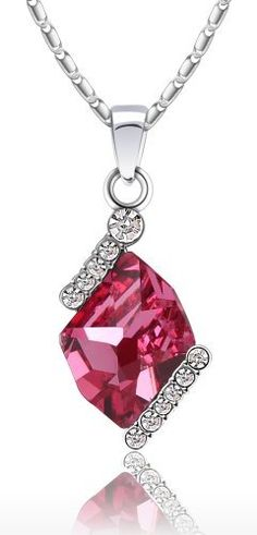 "Elegant Diamond Cut Swarovski Elements Crystal Pendant Necklace Framed By Clear Sparkling Rhinestones W. 18k White Gold Plated Chain (Rose Red) Arco Iris Jewelry. $18.95. Available in Sky Blue, Rose Red Colors. Total Length = 17 -1/2""   ----- (Chain Length - 16-1/4"" +Extension Cord - 1-1/4""). Made with Genuine Swarovski Elements. White Gold Plated (Tarnish-free). Money-back Satisfaction Guarantee. Save 68%!"