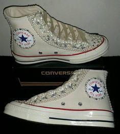 71373450f94e Wedding Converse- Bridal Sneakers- Bling   Pearls Custom Converse Sneakers-  Bridal Chuck Taylors- Wedding Sneakers- Converse hochzeit- Bride
