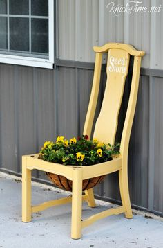 Repurposed Chair Flower Planter - Knick of Time