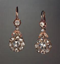 Antique Rose Cut Diamond Dangle Earrings - Russian Antiques & Pre-1917 Faberge Antique Jewelry #AntiqueJewelry
