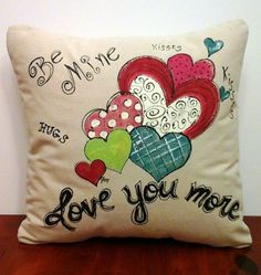 Decorative Pillow Cover Hand-painted Be Mine by SippingIcedTea