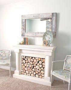 White log filled fireplace DIY