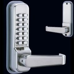 "Codelocks 410SS Mechanical Keyless Lock Exterior Door Hardware - Stainless Steel by Codelocks. $145.00. Codelocks 410SS Stainless Steel Exterior Door Hardware Dimensions: Height: 161mm Width: 41mm. Backset: 2-3/8"", 60mm. Door Thickness: 1-3/8"" 2-3/4"", 35mm-70mm. Specifications:. Medium Duty Lock, Full Lever. Tubular Deadlatch Leverset. Lever Turn on Back-Plate. Zinc Alloy. Fully Mechanical, No Batteries Required Over 8,000 Combinations. Indoor/Outdoor Use. E..."