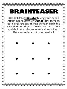 Great Brainteaser for students! And great first week activity to highlight following directions clearly