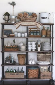 ideas for farmhouse kitchen shelves french country French Kitchen Decor, Vintage Kitchen, Kitchen Rustic, Teal Kitchen, Copper Kitchen, Kitchen White, Room Kitchen, Dining Room, Kitchen Shelves