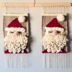 Doubled down on Santa! And that's a wrap for Christmas weavings. Thanks to everyone who purchased one. Hope they make you as happy as they… Tablet Weaving, Loom Weaving, Hand Weaving, Art Christmas Gifts, Christmas Wall Hangings, Weaving Designs, Weaving Projects, Weaving Wall Hanging, Crochet Mouse