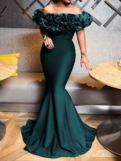 Looking for Off-The-Shoulder Patchwork Slash Neck Mermaid Dress? Fancywe offers lots of Maxi Dresses in different styles, colors and materials. Dress your own style with Off-The-Shoulder Patchwork Slash Neck Mermaid Dress Dinner Gowns, Evening Dresses, Prom Dresses, Formal Dresses, Casual Dresses, Long Dresses, Stylish Dresses, Wedding Dresses, African Lace Dresses