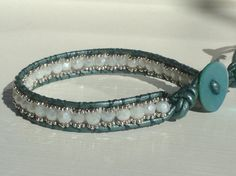 Teal white and silver bohemian wrap bracelet by MantovaniDesigns, $30.00