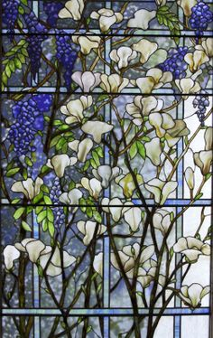 Tiffany Studios - Magnolia and Wisteria Window. Height: 89 3/8 inches, Width: 159 inches, American, circa 1905-10