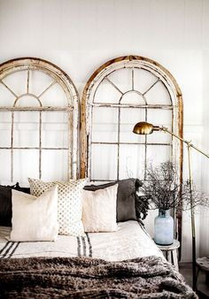 The headboard is one of the most classic elements of any home. But get creative and try one of these incredible headboard alternatives. How unexpected but fabulous do these arched windows look? Home Bedroom, Bedroom Decor, Bedroom Setup, Bedroom Ideas, Design Bedroom, Master Bedrooms, Small Bedrooms, Bedroom Lighting, Bedroom Inspo