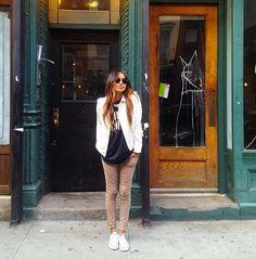 • white blazer and chucks, dressy but casual •