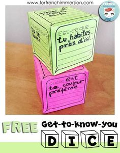FREE French Get-to-know-you DICE - students create their own dice full of questions to get to know one another. You will be able to assess their question-building and speaking skills. Great activity for back-to-school! French Flashcards, French Worksheets, French Teaching Resources, Teaching French, Teacher Resources, How To Speak French, Learn French, High School French, French Education