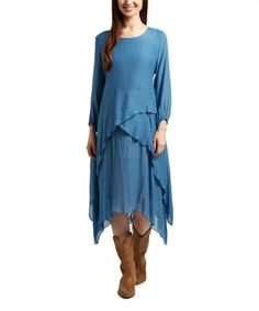 Look what I found on #zulily! Blue Asymmetric-Layered Linen-Blend Sidetail Dress #zulilyfinds