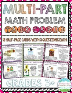 18 Half-Page Multi-Part Math Problem Task Cards that will engage your students in practicing a variety of math skills! These Performance Based Tasks are essential in preparing for upcoming, rigorous state tests! These task cards have been designed using 3rd grade standards, and are best suited for Grades 3+!$