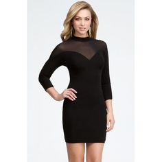 Bebe Contrast Mesh Yoke Dress ($129) ❤ liked on Polyvore