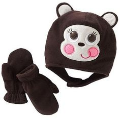 Toddler Monkey Fleece Hat & Mittens Set- Girl - 2T-4T