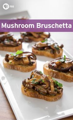 Mushroom bruschetta is a great party canapé or appetizer. Make this simple mushroom bruschetta recipe with high quality mushrooms, olive oil, and balsamic vinegar. Get the recipe at PBS Food. Vegan Appetizers, Appetizers For Party, Appetizer Recipes, Party Recipes, Canapes Recipes, Steak Appetizers, Recipes Dinner, Appetizers For Dinner Party, Appetizer Dessert