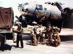 """""""Sweet and Lovely""""Boeing B-17F-115-BO Flying Fortress, Serial: 42-30721533rd Bomb Squadron, 381st Bomb Group, 8th Air Force  After  27 combat missions with the 381st this plane was transferred to use for  radio-relay operations for the 65th Fighter Wing. The plane would orbit  over the English Channel and transfer radio messages to Air/Sea Rescue  from aircrews in trouble. The plane was painted in special recognition  markings, red and white stripes ~"""