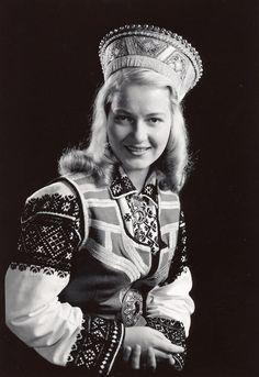 Woman in a Latvian folk costume, Boston, Massachusetts.