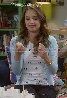 Sofia's palm tree print tee and blue cardigan on Young and Hungry.  Outfit Details: http://wornontv.net/51750/ #YoungandHungry