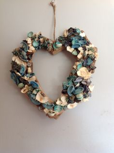 Driftwood and dried flower heart by DizzyfairyBySarah on Etsy