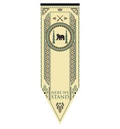 """House Mormont may have been mostly overlooked, but they are formidable! Lady Lyanna rules from her place on Bear Island, and supports the Starks. The Mormont tournament banner features a bear and pine trees at the center of an ornate circle, and at the bottom of the flag is the simple, effective motto of """"Here We Stand"""". This would be a great gift for any Game of Thrones fan who appreciates this Westeros family!"""
