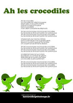 Téléchargez et imprimez les paroles de la comptine LES CROCODILES au format A4 en haute définition. Ecoutez et imprimez les paroles de AH LES CROCODILES Father Songs, French Poems, French Nursery, Crocodiles, Rhymes For Kids, French Language Learning, Tatty Teddy, Toddler Learning, Learn French
