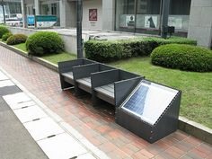"Japanese ""eco bench"" with solar panel that energizes pedestrian lighting"