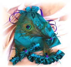 Bridal Garters and Drawstring Purse  Peacock Feathers Teal Turquoise and Purple Color Scheme