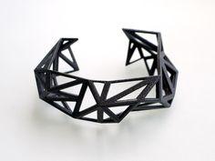 Triangulated Cuff bracelet in Black. 3d printed. modern statement jewelry. black geometric jewelry