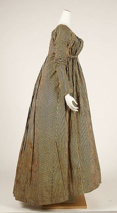 Dress Date: 1804–14 Culture: probably American Medium: cotton Dimensions: Length at CB: 53 in. (134.6 cm) Length at CF: 48 in. (121.9 cm) Credit Line: Gift of Miss Constance P. Brown, 1942 Accession Number: C.I.42.115.1