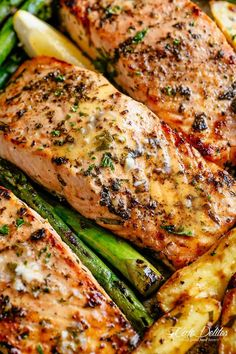 One pan salmon: Oven 400 for 20 minutes. Salmon, Asparagus, Carrots with Grass fed butter, Lemon Juice and crushed garlic + salt. Healthy Salmon Recipes, Fish Recipes, Seafood Recipes, Recipies, Vegan Recipes, Seafood Meals, Seafood Pasta, Game Recipes, Steak Recipes
