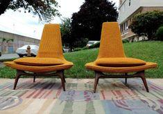 2 1960's lounge / slipper chairs karpen of california mid century ... #futuristicfurniture