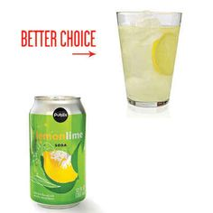 Instead of a Lemon-Lime Soda, Stir Up a Lemon Sparkler Liquid calories are part of the snack budget, too. A can of soda contains sugar—nearly 3 tablespoons. Instead, mix 4 ounces lemonade with 8 ounces sparkling water. Garnish with a lemon slice. Healthy Breakfast Snacks, Healthy Snacks To Make, Healthy Drinks, Healthy Eating, Healthy Recipes, Eating Clean, Healthy Treats, Healthy Habits, Healthy Foods