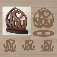 This digital download is for a vector pattern of I love (heart) you. I created this for my wife and cut it out of walnut with a scroll saw. There are tabs that fit in slots in the base. The size of the slots is determined by the thickness of the material. There are variations of the