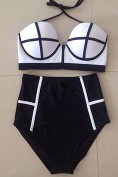 Chic Colorful Backless High Waist Bikini Swimwear For Women Bikinis   RoseGal.com Mobile