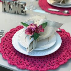 Crochet Kitchen, Crochet Motif, Beautiful Patterns, Home Improvement, Napkins, Table Settings, Sweet Home, New Homes, Table Decorations