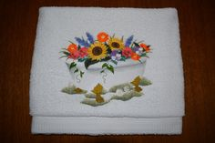 Badhanddoek: Badkuip boeket (Bathtowel: Bathtub bouquet)
